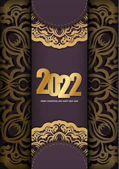 Template greeting brochure 2022 merry christmas and happy new year burgundy color with abstract gold pattern