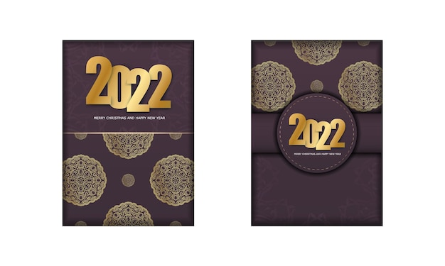 Template greeting brochure 2022 merry christmas and happy new year burgundy color with luxury gold ornament