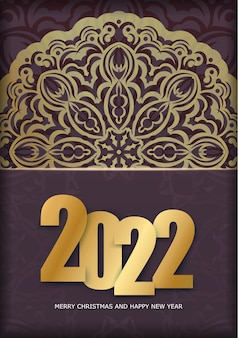 Template greeting brochure 2022 merry christmas and happy new year burgundy color with vintage gold ornament