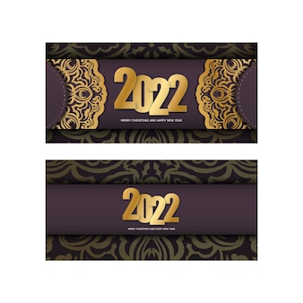 Template greeting brochure 2022 merry christmas and happy new year burgundy color with vintage gold pattern