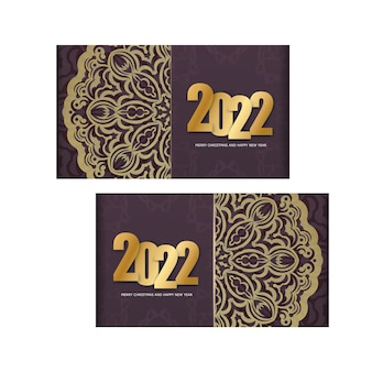 Template greeting brochure 2022 merry christmas and happy new year burgundy color with winter gold ornament