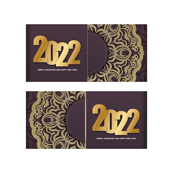 Template greeting brochure 2022 merry christmas and happy new year burgundy color with winter gold pattern