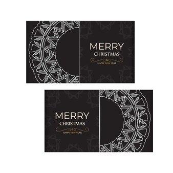 テンプレートグリーティングカード新年あけましておめでとうございますとメリークリスマス、白い飾りと黒い色。