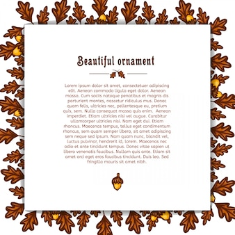 Template greeting card with frame of autumn oak leaves and acorns. place for your text vector