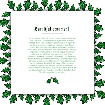 Template greeting card with a frame of green oak leaves. place for your text. vector