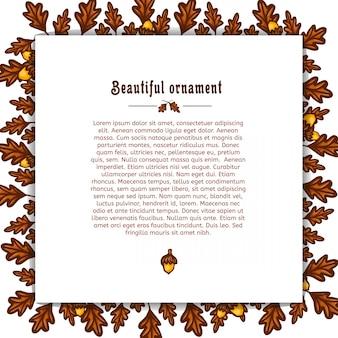 秋のオークの葉とドングリのフレームを持つテンプレートグリーティングカード。テキストベクトルのための場所