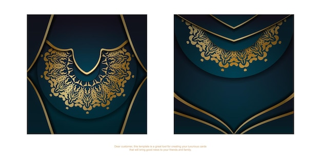 Template greeting card with a gradient of blue color with an abstract gold pattern for your congratulations.