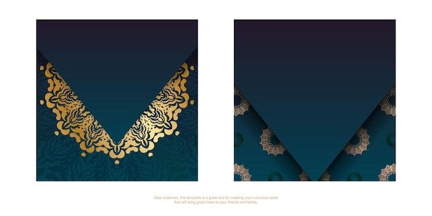 Template greeting card with a gradient of blue color with a gold mandala ornament prepared for printing.