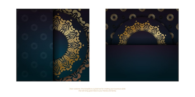 Template greeting card with a gradient of blue color with a gold mandala ornament prepared for typography.
