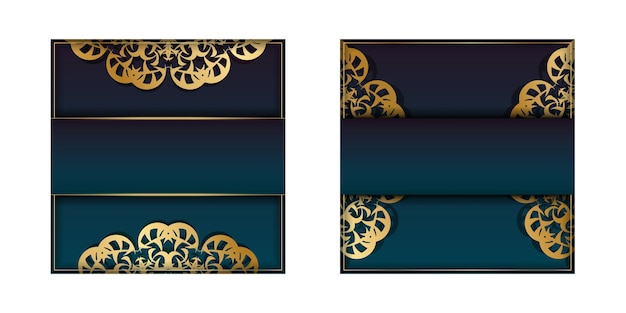 Template greeting card with a gradient blue color with a gold mandala pattern prepared for printing.