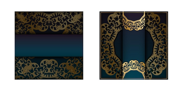 Template greeting card with a gradient blue color with a gold mandala pattern for your brand.
