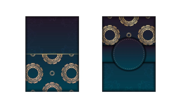 Template greeting card with a gradient blue color with a gold mandala pattern for your design.