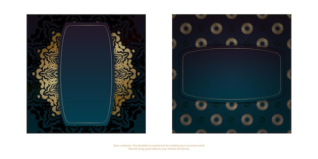 Template greeting card with a gradient of blue color with a gold ornament mandala for your brand.