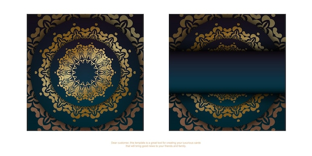Template greeting card with a gradient of blue color with a gold ornament mandala for your congratulations.