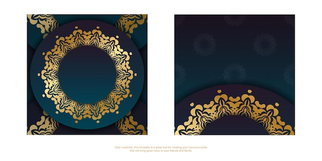 Template greeting card with a gradient of blue color with a gold ornament mandala for your design.