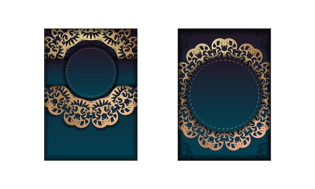 Template greeting card with a gradient of blue color with a golden mandala pattern for your congratulations.