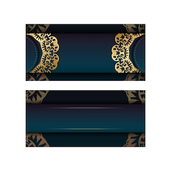 Template greeting card with a gradient of blue color with a luxurious gold ornament for your congratulations.