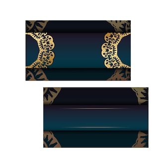 Template greeting card with a gradient of blue color with luxurious gold ornaments for your design.