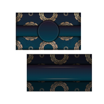 Template greeting card with a gradient of blue color with a luxurious gold pattern for your congratulations.