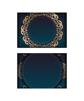 Template greeting card with a gradient of blue color with a vintage gold ornament for your congratulations.