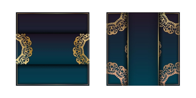 Template greeting card with a gradient of blue color with vintage gold ornaments for your congratulations.