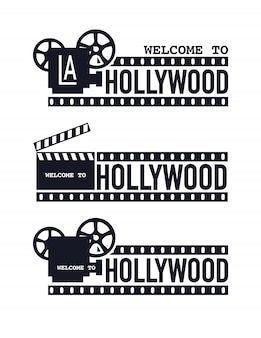 Шаблон гранж кинотеатр логотип, добро пожаловать в голливуд.