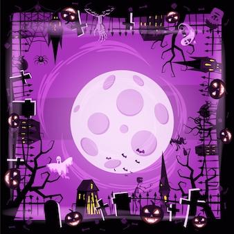 Шаблон праздника хэллоуин тыква, кладбище, черный заброшенный замок, атрибуты праздника всех святых