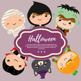 Template halloween with kids costume