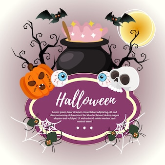 Template halloween with magic potion pot