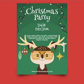 Template hand drawn christmas party flyer