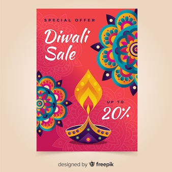 Template hand drawn diwali sale poster