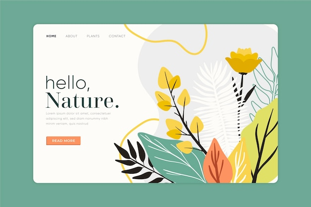Template hand drawn nature landing page