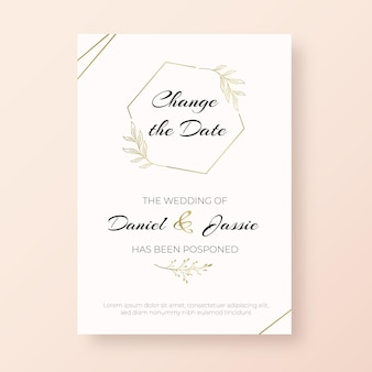 Template for hand drawn postponed wedding card