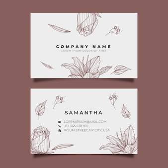 Template hand-drawn realistic floral business card