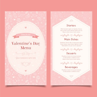 Template hand-drawn valentine's day menu