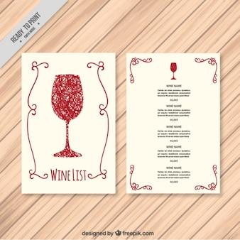 Modello di carta dei vini disegnato a mano