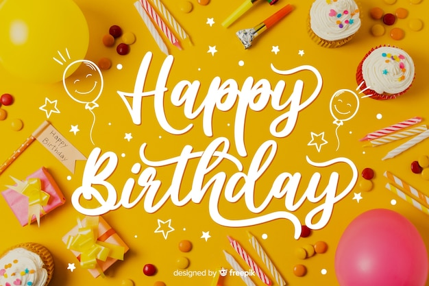 Template for happy birthday lettering concept
