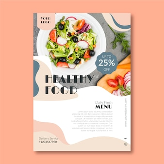 Template for healthy food restaurant flyer with photo