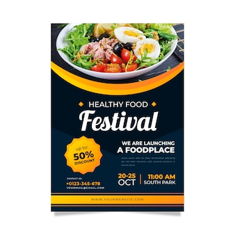 Template for healthy food restaurant flyer
