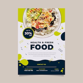 Template for healthy food restaurant poster