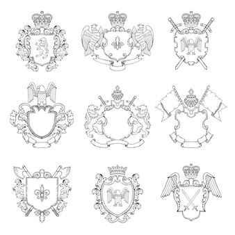 Template of heraldic emblems. different empty frames for logo or badges .  heraldic badge vintage with sword and eagle illustration