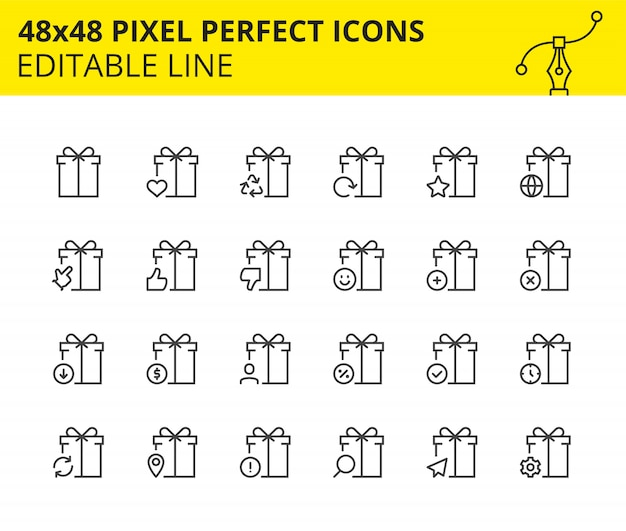 Template icons of gift