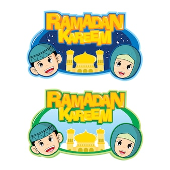 Template illustration with moslem kids theme