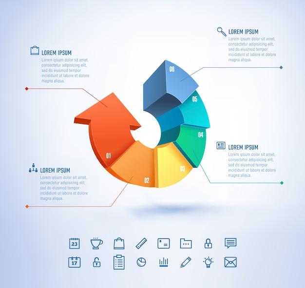 인포 그래픽 및 프리젠 테이션을위한 현대적인 스타일의 템플릿 성장 화살표가있는 비즈니스 아이콘 및 차트