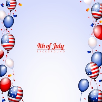 Template for independence day with balloons