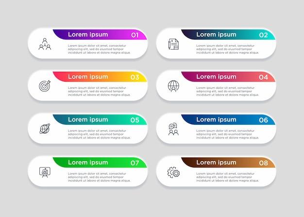 8ステップのテンプレートインフォグラフィック要素のデザイン Premiumベクター