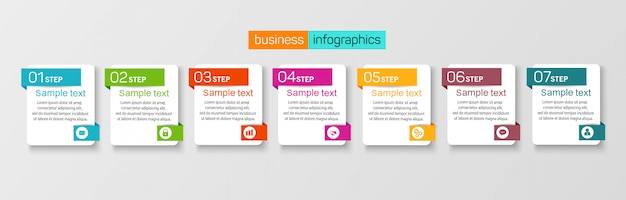 7 가지 옵션이있는 템플릿 인포 그래픽