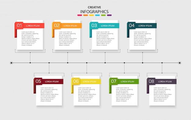 8つのオプションを持つテンプレートインフォグラフィック