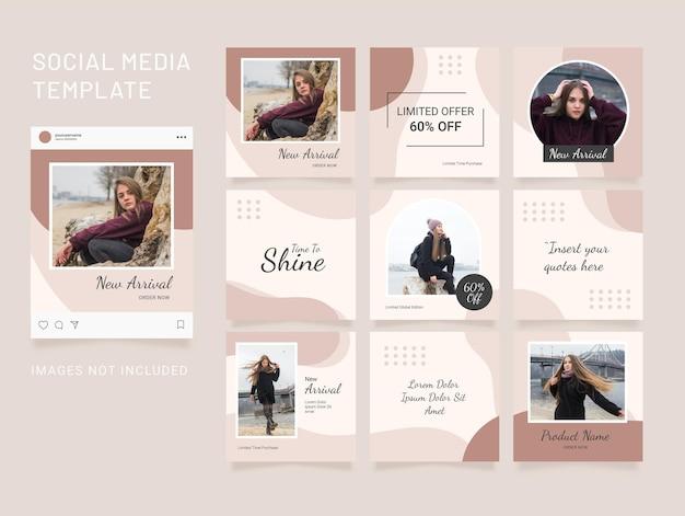 テンプレートinstagramフィードファッションソーシャルメディアパズル