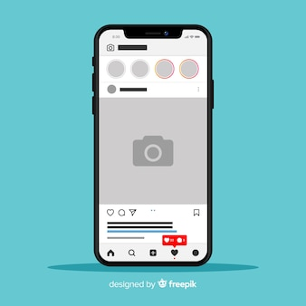 Template of instagram photo frame on iphone